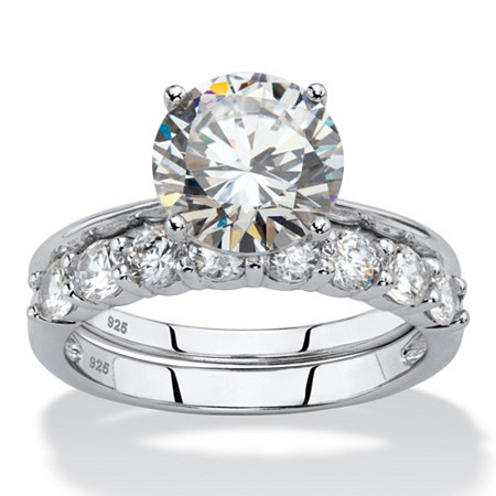 3.80 TCW Round White Cubic Zirconia 2-Piece Bridal Engagement Ring Set in Platinum over .925 Sterling Silver at PalmBeach Jewelry
