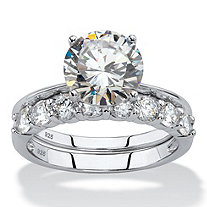 3.80 TCW Round White Cubic Zirconia 2-Piece Bridal Engagement Ring Set in Platinum over .925 Sterling Silver