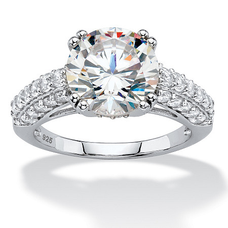 4.92 TCW Round White Cubic Zirconia Triple Row Bridal Engagement Ring in Platinum over Sterling Silver at PalmBeach Jewelry