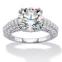 4.92 TCW Round White Cubic Zirconia Triple Row Bridal Engagement Ring in Platinum over Sterling Silver