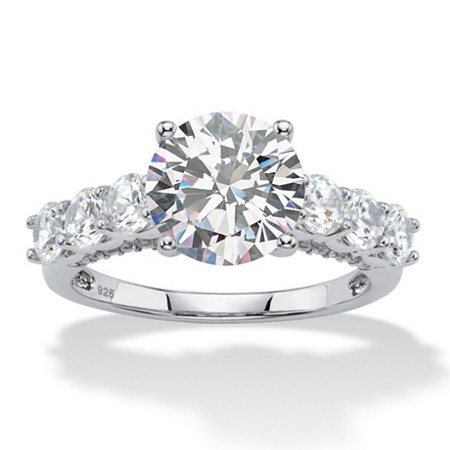 4.11 TCW Round White Cubic Zirconia Bridal Engagement Ring in Platinum over Sterling Silver at PalmBeach Jewelry