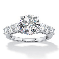 4.11 TCW Round White Cubic Zirconia Bridal Engagement Ring in Platinum over Sterling Silver