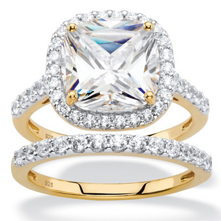 3.49 TCW Cushion-Cut White Cubic Zirconia 2-Piece Halo Bridal Ring Set in 18k Gold over Sterling Silver at PalmBeach Jewelry