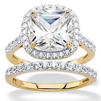 3.49 TCW Cushion-Cut White Cubic Zirconia 2-Piece Halo Bridal Ring Set in 18k Gold over Sterling Silver