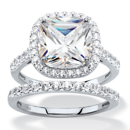 3.49 TCW Cushion-Cut White Cubic Zirconia 2-Piece Halo Bridal Wedding Ring Set in Platinum over Sterling Silver at Direct Charge presents PalmBeach
