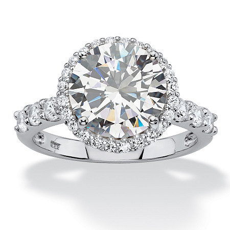 4.70 TCW Round White Cubic Zirconia Halo Bridal Engagement Ring in Platinum over Sterling Silver at PalmBeach Jewelry