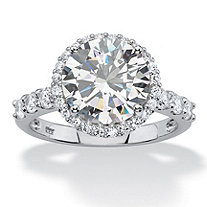 4.70 TCW Round White Cubic Zirconia Halo Bridal Engagement Ring in Platinum over Sterling Silver