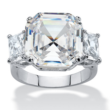 11.80 TCW Asscher-Cut Cubic Zirconia 3-Stone Cocktail Ring Platinum-Plated at PalmBeach Jewelry