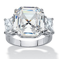 11.80 TCW Octagon-Cut Cubic Zirconia 3-Stone Engagement Anniversary Ring Platinum-Plated