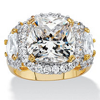 6.59 TCW Cushion-Cut and Half-Moon Cubic Zirconia Halo Cocktail Ring 14k Yellow Gold-Plated