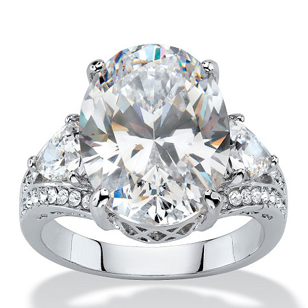 10.72 TCW Oval and Trilliant-Cut White Cubic Zirconia Bridal Engagement Anniversary Ring Platinum-Plated at PalmBeach Jewelry