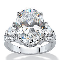10.72 TCW Oval and Trilliant-Cut White Cubic Zirconia Bridal Engagement Anniversary Ring Platinum-Plated
