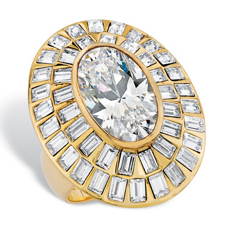 8.75 TCW Oval-Cut Cubic Zirconia and Baguette-Cut Crystal Double-Row Halo Cocktail Ring 14k Yellow Gold-Plated at PalmBeach Jewelry