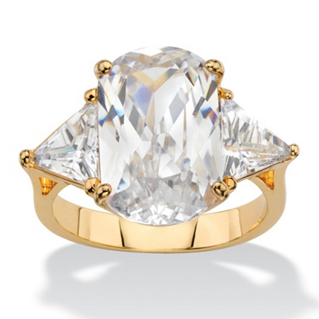 10.20 TCW Oval and Trilliant-Cut White Cubic Zirconia 3-Stone Bridal Engagement Ring 14k Yellow Gold-Plated at PalmBeach Jewelry