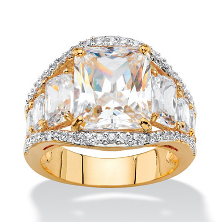 10.02 TCW Emerald-Cut White Cubic Zirconia Bridal Engagement Anniversary Ring 14k Yellow Gold-Plated at PalmBeach Jewelry