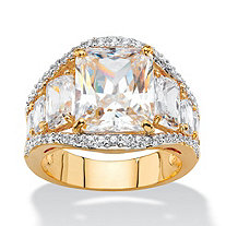 10.02 TCW Emerald-Cut White Cubic Zirconia Bridal Engagement Anniversary Ring 14k Yellow Gold-Plated