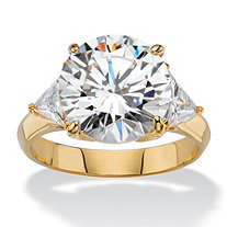7.40 TCW Round and Trilliant-Cut White Cubic Zirconia 3-Stone Bridal Engagement Ring 14k Yellow Gold-Plated