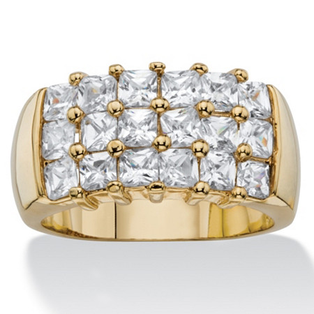 2.34 TCW Princess-Cut White Cubic Zirconia Grid Ring 14k Yellow Gold-Plated at PalmBeach Jewelry