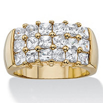 2.34 TCW Princess-Cut White Cubic Zirconia Grid Ring 14k Yellow Gold-Plated