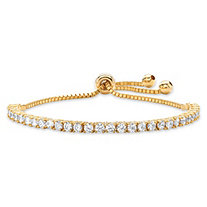 3 TCW Round White Cubic Zirconia Adjustable Drawstring Bolo Bracelet 14k Gold-Plated 10""