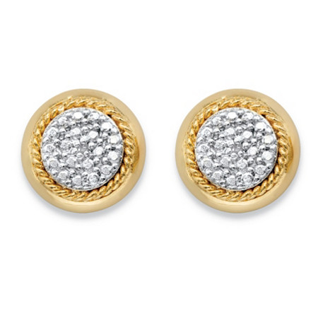 Diamond Accent Pave-Style Cluster Button Earrings with Rope Halo Detailing 14k Yellow Gold-Plated at PalmBeach Jewelry