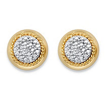 Diamond Accent Pave-Style Cluster Button Earrings with Rope Halo Detailing 14k Yellow Gold-Plated