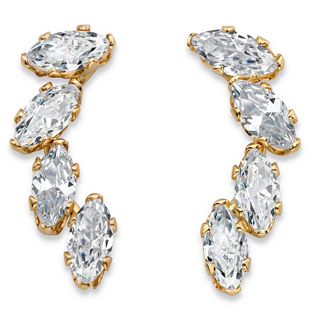 .80 TCW Marquise-Cut Cubic Zirconia Ear Climber Earrings in Solid 10k Yellow Gold at PalmBeach Jewelry