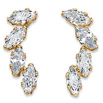 SETA JEWELRY .80 TCW Marquise-Cut Cubic Zirconia Ear Climber Earrings in Solid 10k Yellow Gold