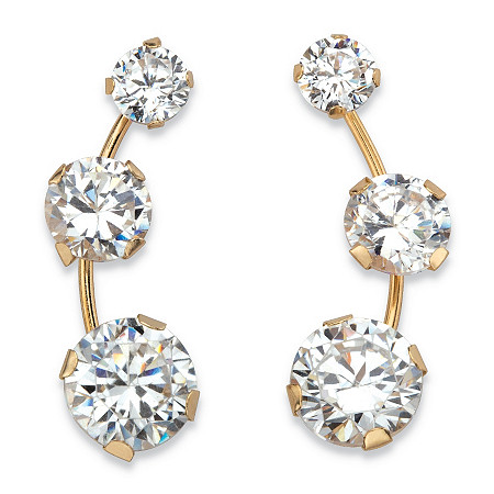 1.70 TCW Round White Cubic Zirconia 3-Stone Ear Climber Earrings in Solid 10k Yellow Gold at PalmBeach Jewelry