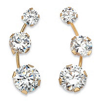 1.70 TCW Round White Cubic Zirconia 3-Stone Ear Climber Earrings in Solid 10k Yellow Gold
