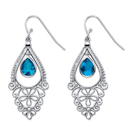 Pear-Cut Simulated Blue Sapphire Floral Scroll Drop Earrings in Sterling Silver 1.75