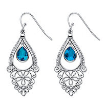 Pear-Cut Simulated Blue Sapphire Floral Scroll Drop Earrings in Sterling Silver 1.75""