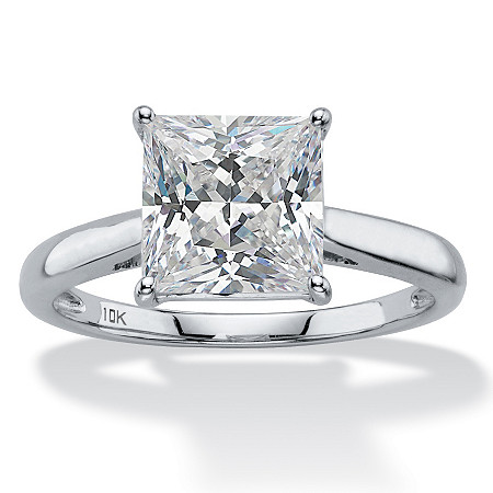 2.12 TCW Princess-Cut White Cubic Zirconia Solitaire Bridal Engagement Ring in Solid 10k White Gold at PalmBeach Jewelry
