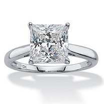 2.12 TCW Princess-Cut White Cubic Zirconia Solitaire Bridal Engagement Ring in Solid 10k White Gold