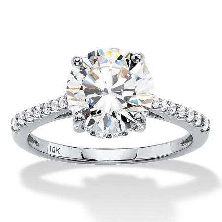 3.31 TCW Round White Cubic Zirconia Bridal Engagement Ring in Solid 10k White Gold at PalmBeach Jewelry