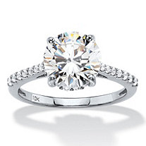 3.31 TCW Round White Cubic Zirconia Bridal Engagement Ring in Solid 10k White Gold