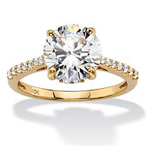 3.31 TCW Round White Cubic Zirconia Bridal Engagement Ring in Solid 10k Yellow Gold