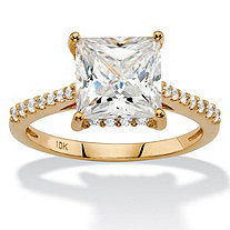 2.43 TCW Princess-Cut White Cubic Zirconia Bridal Engagement Ring in Solid 10k Yellow Gold
