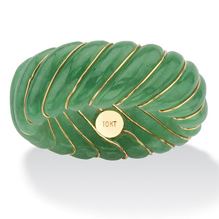 Genuine Green Jade Shrimp-Style Ring Band with 10k Yellow Gold Inlaid Accents at PalmBeach Jewelry