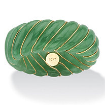 Genuine Green Jade Shrimp-Style Ring Band with 10k Yellow Gold Inlaid Accents