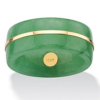 Genuine Green Jade Striped Ring Band with 10k Yellow Gold Accent