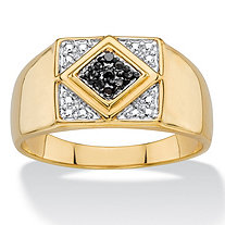 Men's Round Black Diamond Accent Pave-Style Geometric Ring 14k Yellow Gold-Plated and Black Ruthenium-Plated