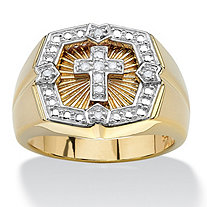 Men's 1/10 TCW Round White Diamond Starburst Cross Halo Ring 14k Yellow Gold-Plated