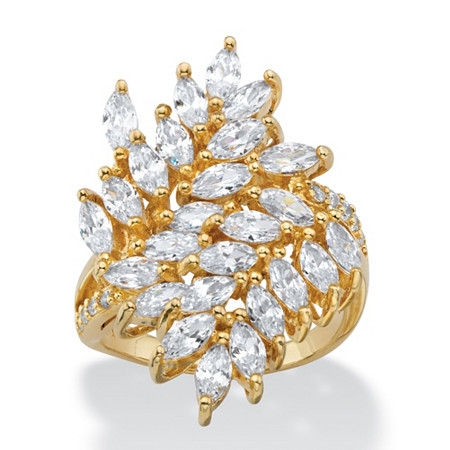 4.04 TCW Marquise-Cut White Cubic Zirconia Cluster Cocktail Ring 14k Yellow Gold-Plated at PalmBeach Jewelry