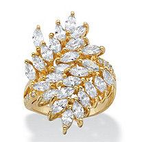 4.04 TCW Marquise-Cut White Cubic Zirconia Cluster Cocktail Ring 14k Yellow Gold-Plated