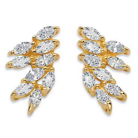 2.70 TCW Marquise-Cut White Cubic Zirconia Cluster Drop Earrings 14k Yellow Gold-Plated at PalmBeach Jewelry