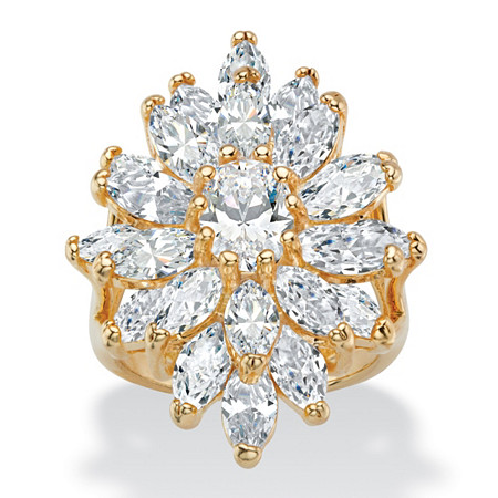 8.31 TCW Oval and Marquise-Cut White Cubic Zirconia Starburst Cluster Cocktail Ring 14k Yellow Gold-Plated at PalmBeach Jewelry