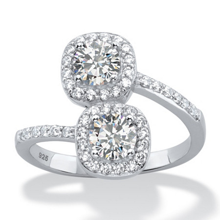 1.40 TCW Round White Cubic Zirconia Double Halo 2-Stone Bypass Ring in Platinum over Sterling Silver at PalmBeach Jewelry