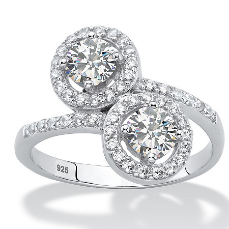 1.41 TCW Round White Cubic Zirconia 2-Stone Halo Bypass Ring in Platinum over Sterling Silver at PalmBeach Jewelry
