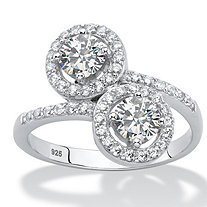 1.41 TCW Round White Cubic Zirconia Halo Bypass Ring in Platinum over Sterling Silver